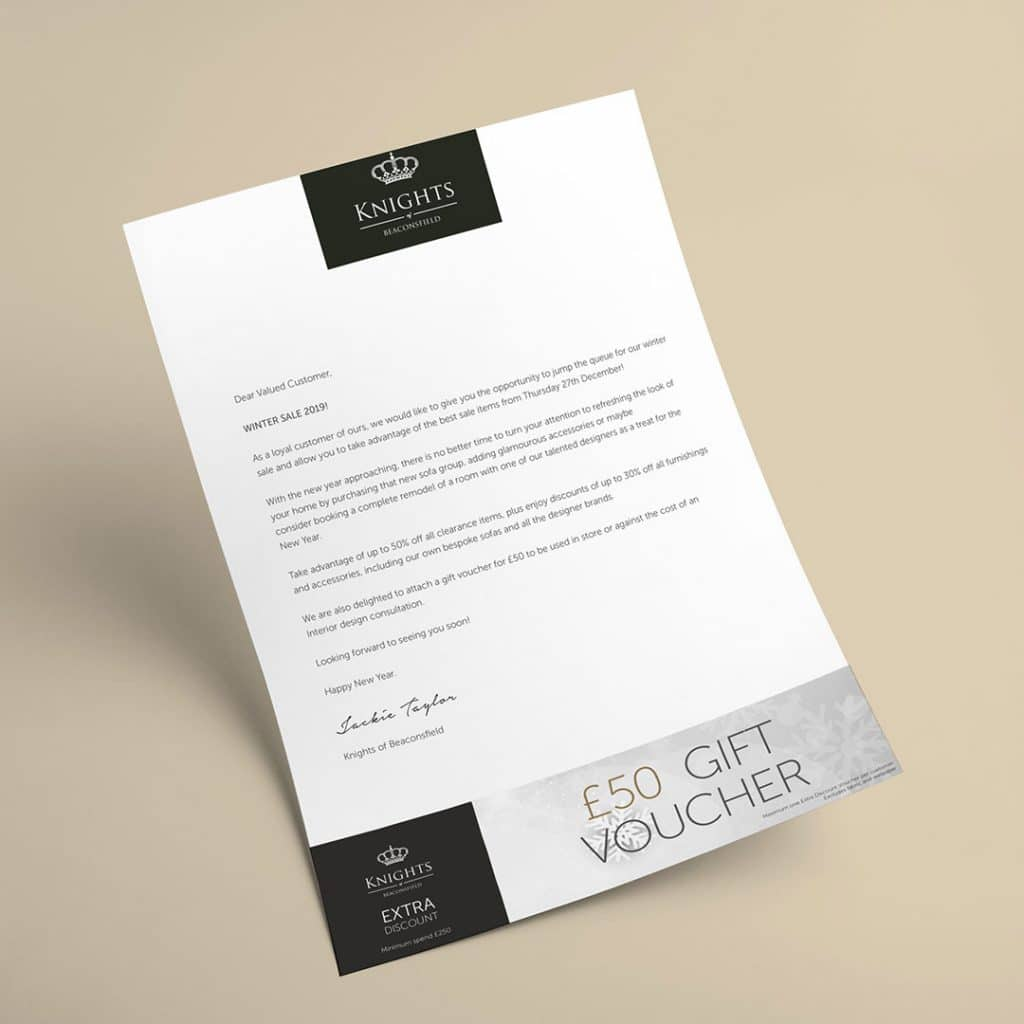 Letter Designed for Knights with attached Voucher