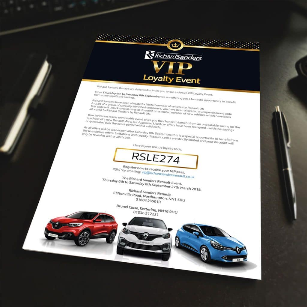 Richard Sanders VIP Loyalty Event Letter