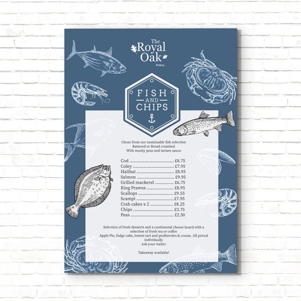 The Royal Oak Fish And Chips Menu Poster